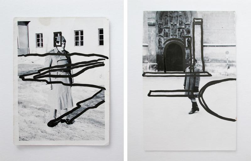 UNDER A TIDE II (2011) India ink on inkjet prints, a set of 2