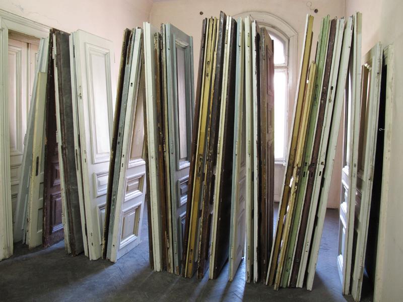 DOOR TO DOOR (2012) Reclaimed doors Installation view: The 53rd October Salon, Belgrade, Serbia