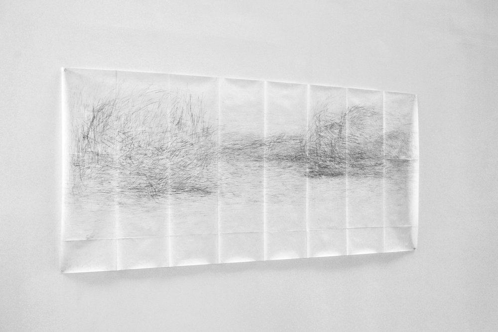 UNTITLED (Byam Shaw) (2011/2017) pencil on paper, 100 x 215 cm, unfolded, Image copyright: Olivia Mihălțianu