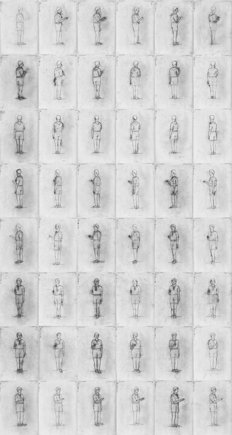 FOUR HUMAN FIGURES (2012) Series of 4 animations, 4 sec in loop, pencil on tracing paper, 48 drawings, A4 each, Exhibition view Image copyright: Salonul de Proiecte, Bucharest