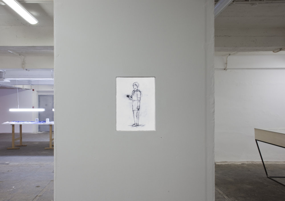 FOUR HUMAN FIGURES (2012) 48 drawings for animation, A4 each, Exhibition view Image copyright: Salonul de Proiecte, Bucharest