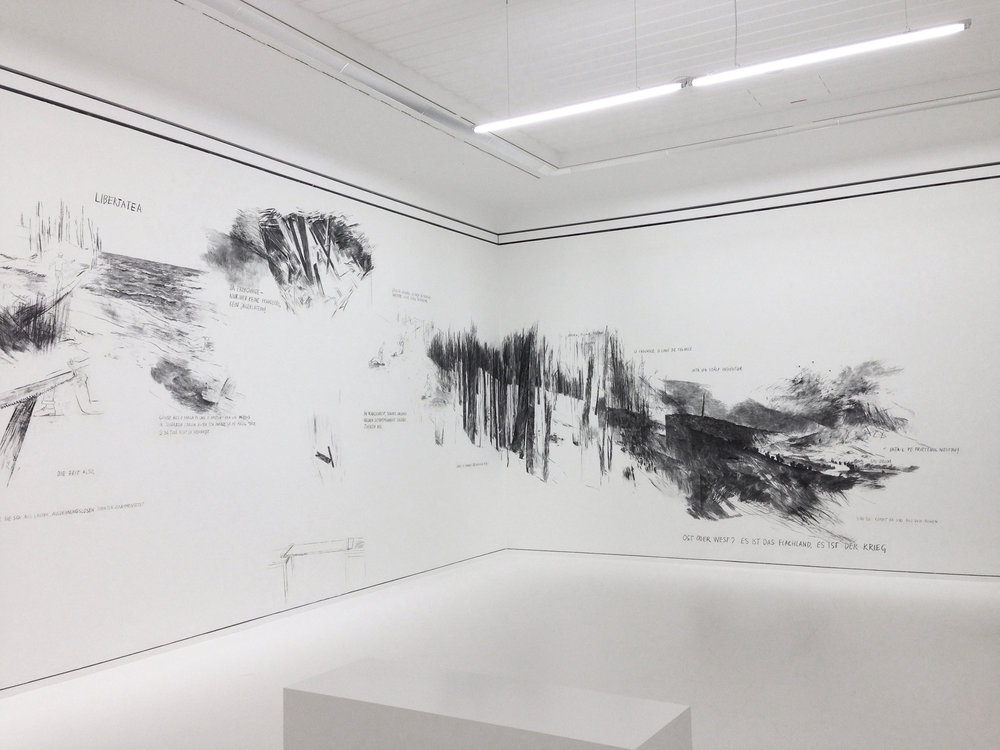 MÄNNERAKT (2014) graphite, charcoal drawing, dimensions variable, Exhibition view Leopold Museum, Vienna, Image copyright: Paul Hemetsberger