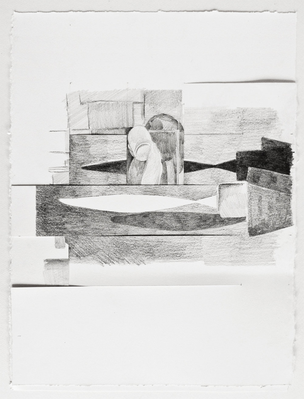 CUTS #3 (2016) pencil on paper, 37.5 x 29 cm