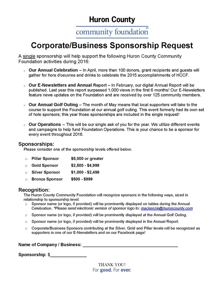 Annual Sponsorships Now Available  Huron County Community Foundation