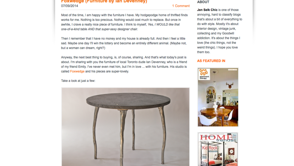 foxwedge  featured on  Jen Selk Chic  blog