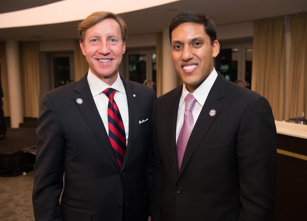 Dean J. Larry Jameson and Administrator of the United States Agency for International Development Rajiv Shah, M'02, GRW'05, speakers at the November Penn Medicine in DC Celebration