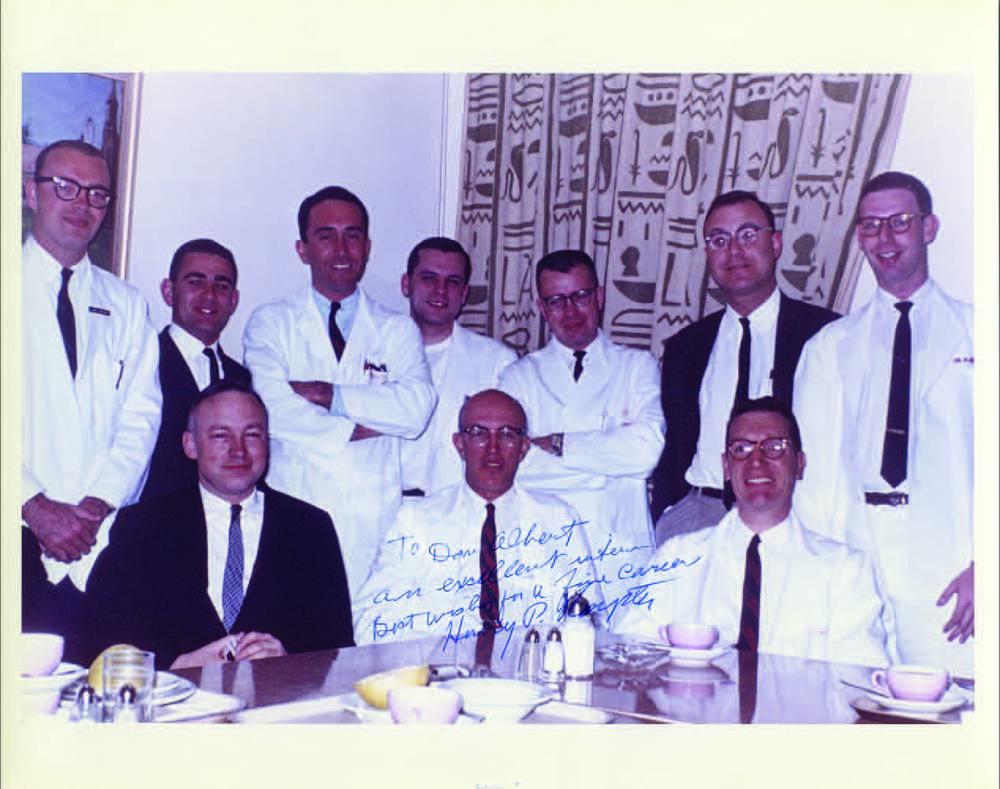 Dan Albert (far right), as a student in 1960 on the Plastics Service with Chief, Dr. Henry P. Royster, M'35, RES'42 (center front).