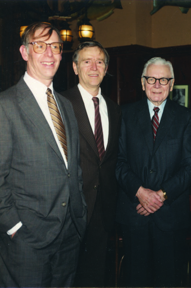 Left    to  right , Dr. Albert (during his residency), Dr. Alan Laties, RES'61, and Dr. Harold Scheie, GRM'40, HON'78.