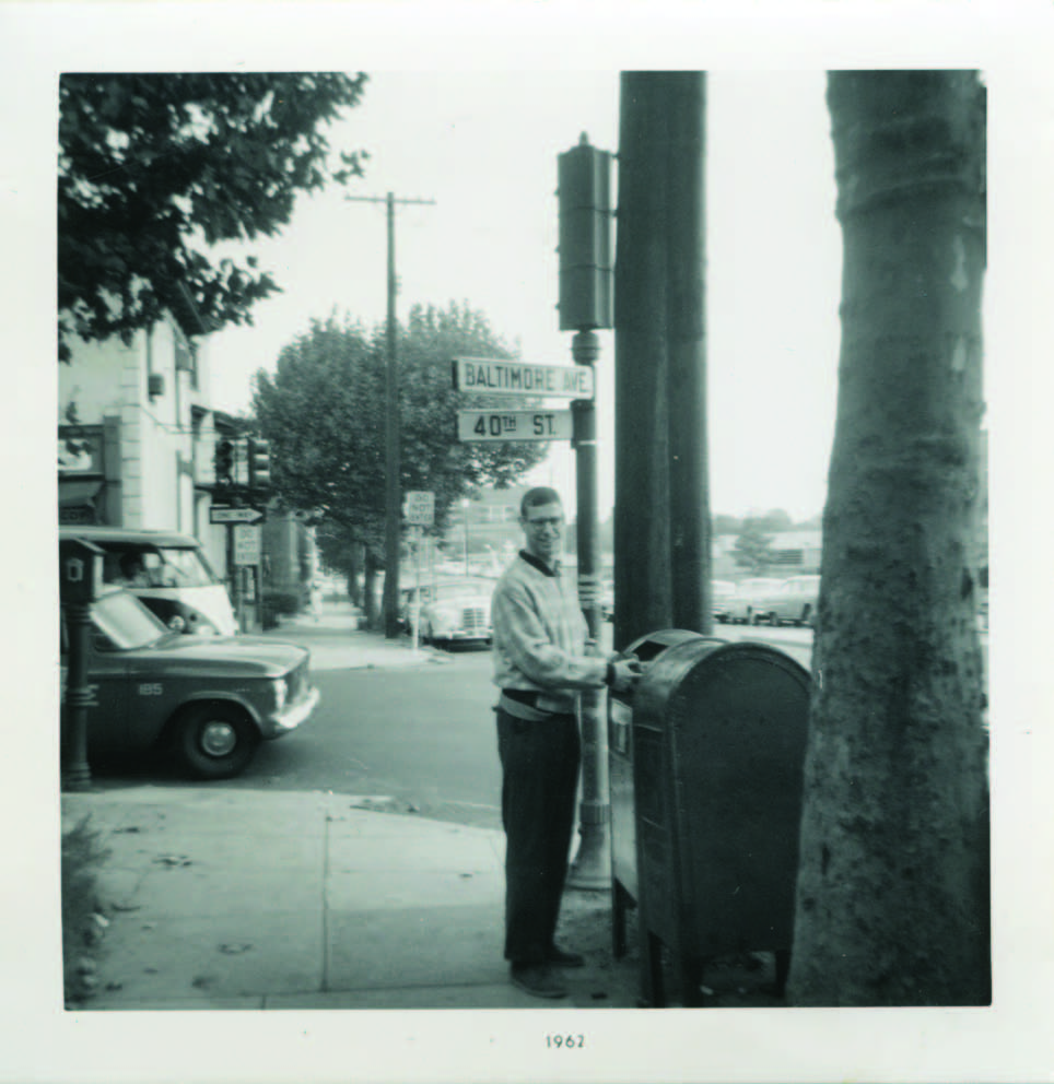 Dr. Albert outside his apartment house at Baltimore Avenue and 40th Street, home from 1960 to 1966.