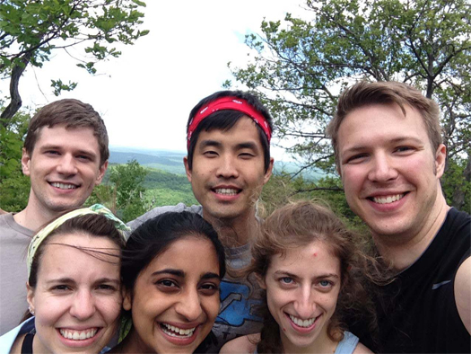 """A few classmates really took charge of organizing a class-wide camping trip during our first year. It was a huge success,"" Jason said.  Top row (left to right): Cole Thomas, Jason, James Baier Bottom row (left to right): Isabella Bellon, Leela Chakravarti, Nora Dumont"