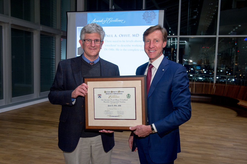 In addition to his American Academy of Arts and Sciences honor, Dr. Offit, seen with Dean Jameson, was a co-winner of the Christian R. and Mary F. Lindback Distinguished Teaching Award.
