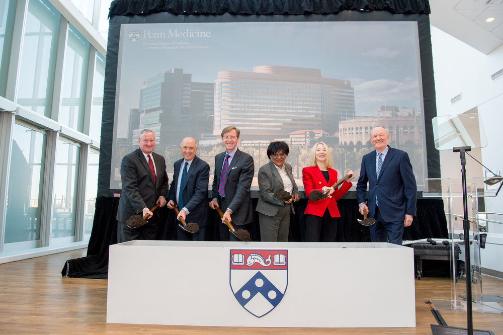 Left to right: Philadelphia Mayor James Kenney; Penn Medicine Board Chair Andrew Heyer; J. Larry Jameson; Councilwoman Jeannie Blackwell; Amy Gutmann; Ralph Muller