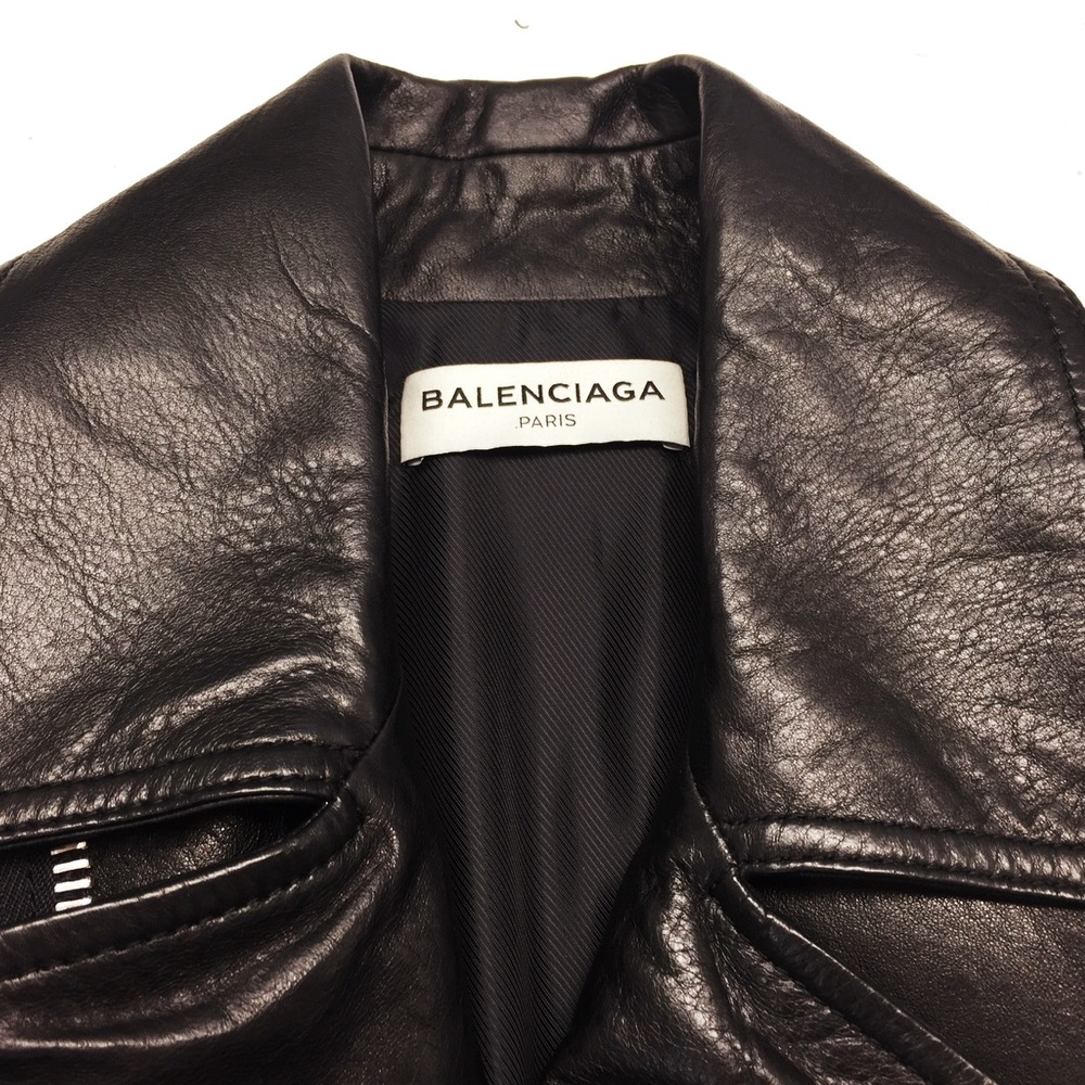 This Balenciaga leather jacket arrived in our studio to have the sleeves shortened....