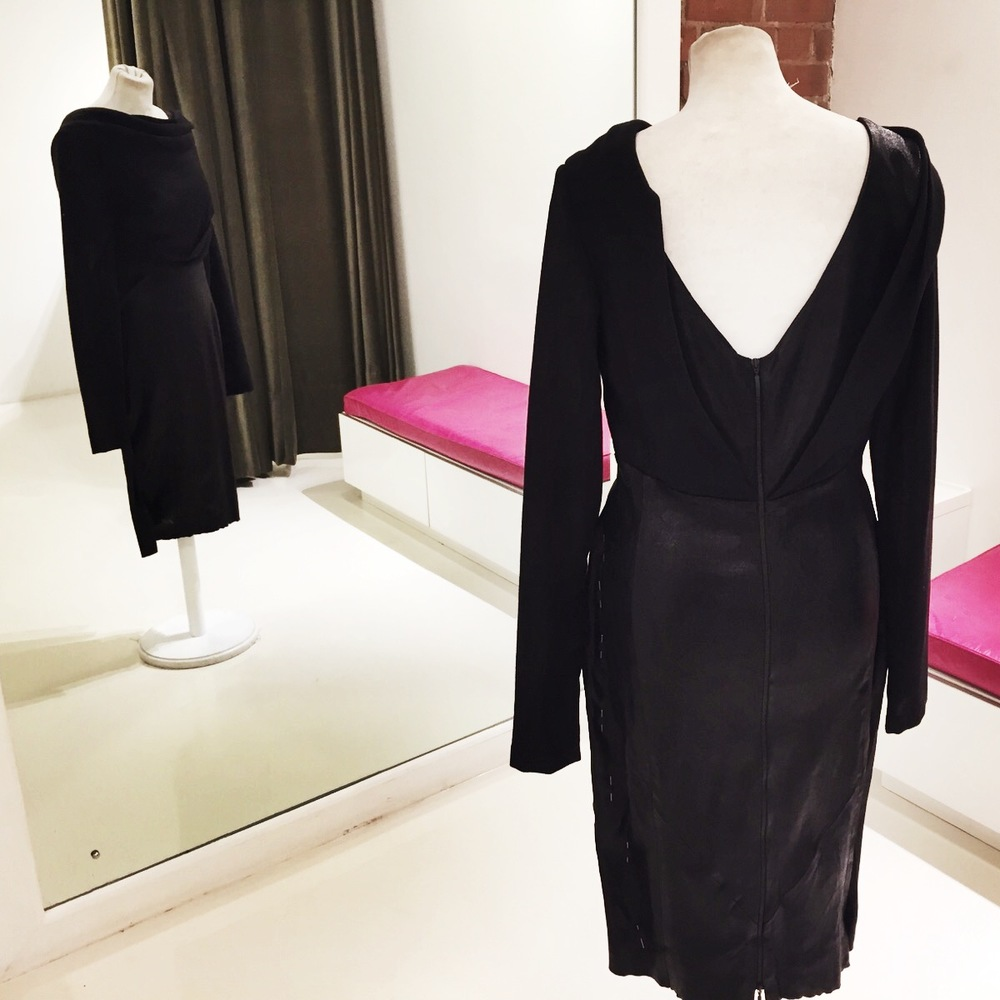 This black knit and leather Talbot Runhof LBD is in our studio to have the side seams taken in....