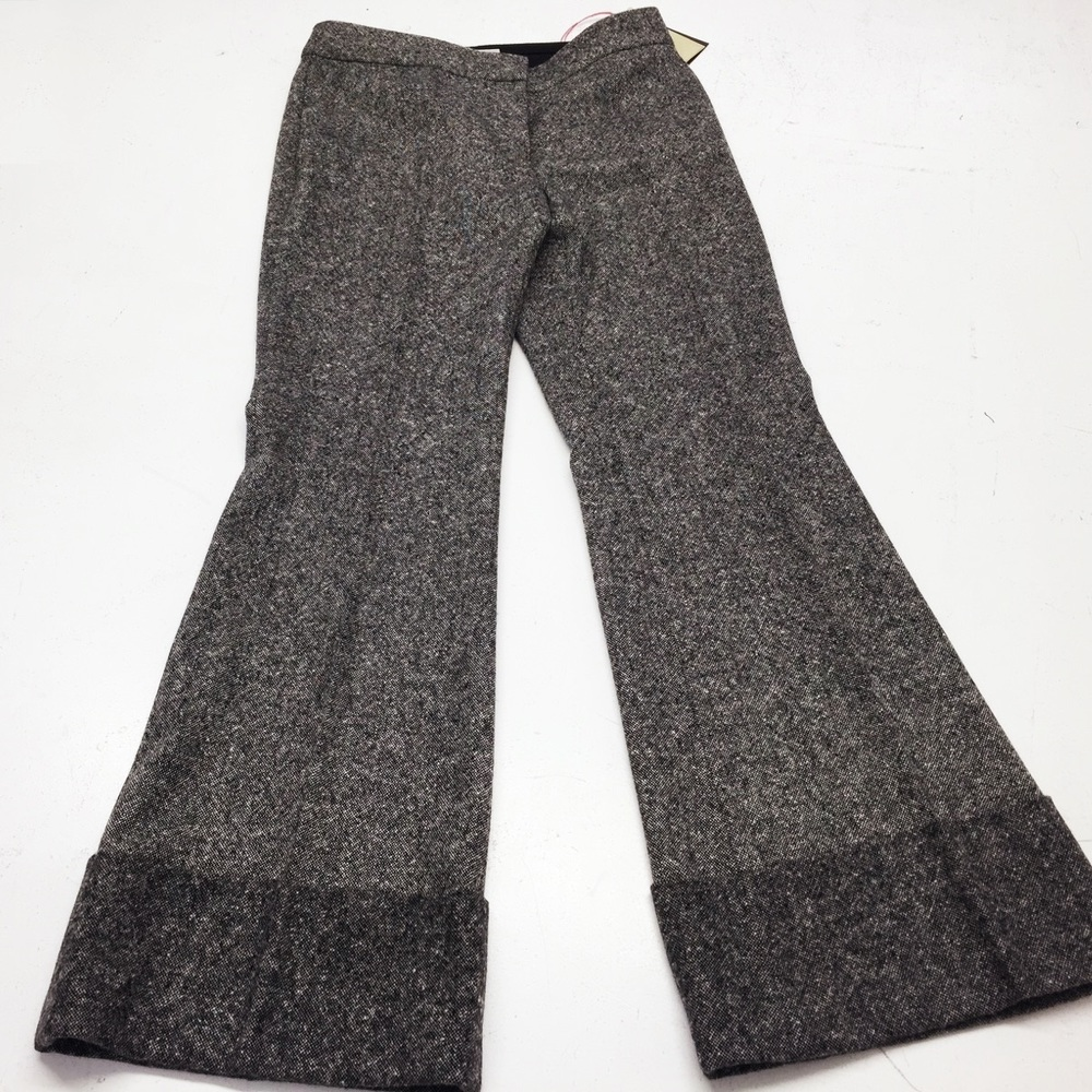 We shortened these Stella McCartney grey wide hem trousers...