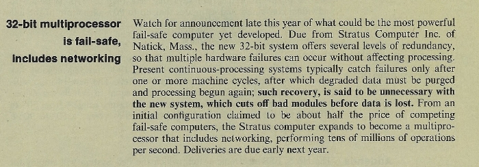Electronic News teaser on Stratus first product. October 1981.