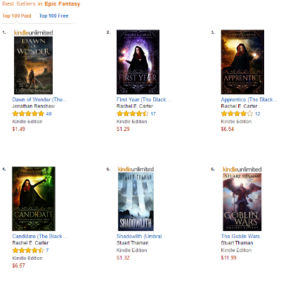 The Goblin Wars Omnibus at #6 and Shadowlith at #5 in the paid Amazon store, epic fantasy subsection.