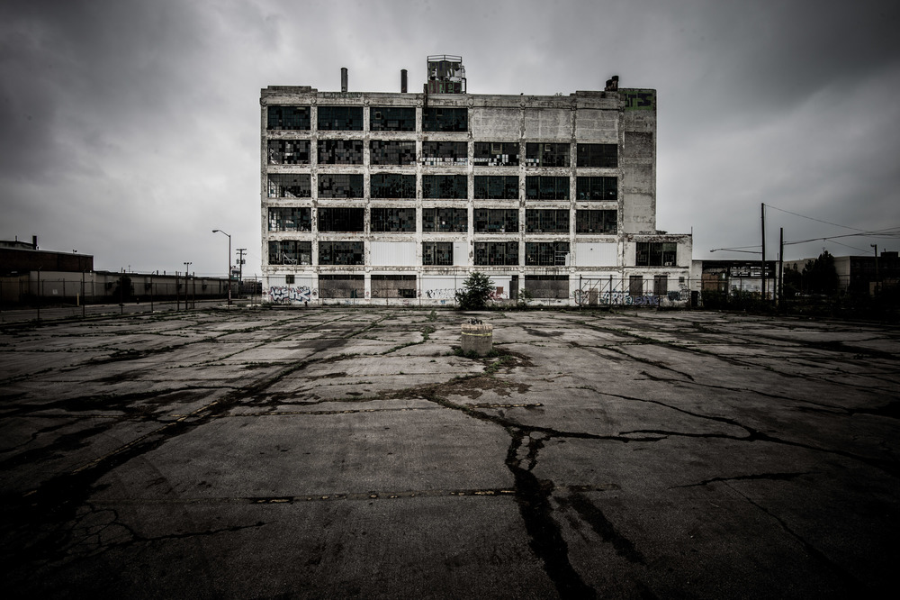 Derelict factory, Detroit, Michigan.