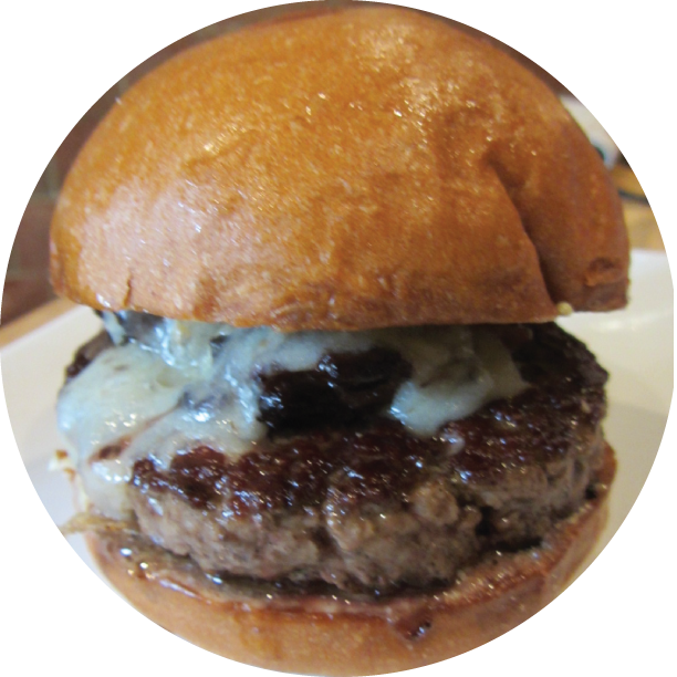OXTAIL BURGER- SANTA MONICA signature blend of beef patty, stout braised oxtail, house truffle cheese, garlic aioli