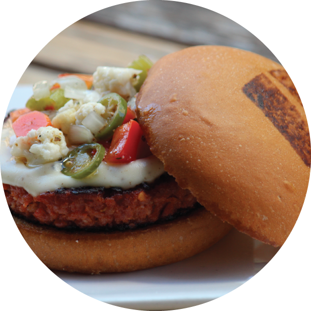 CALABRESE BURGER- WICKER PARK calabrese sausage patty, truffled aioli, house truffle cheese, Chicago style giardiniera