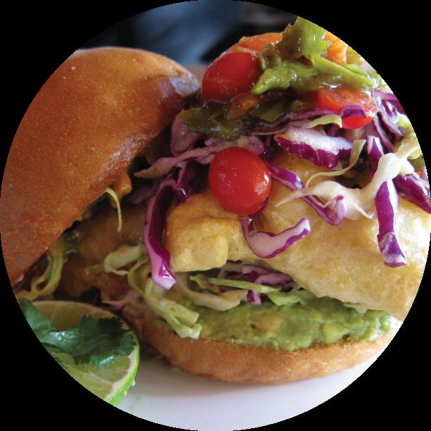 BAJA BURGER- HERMOSA tempura fried cod, crushed avocado, cabbage slaw, fire-roasted salsa, chipotle lime aioli