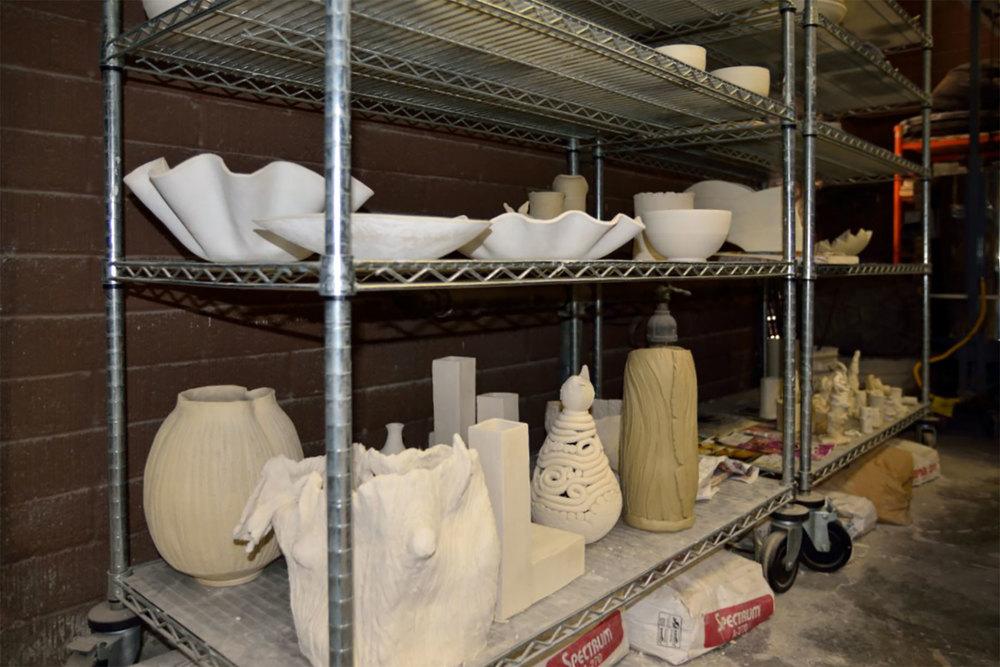 Greenware shelves.
