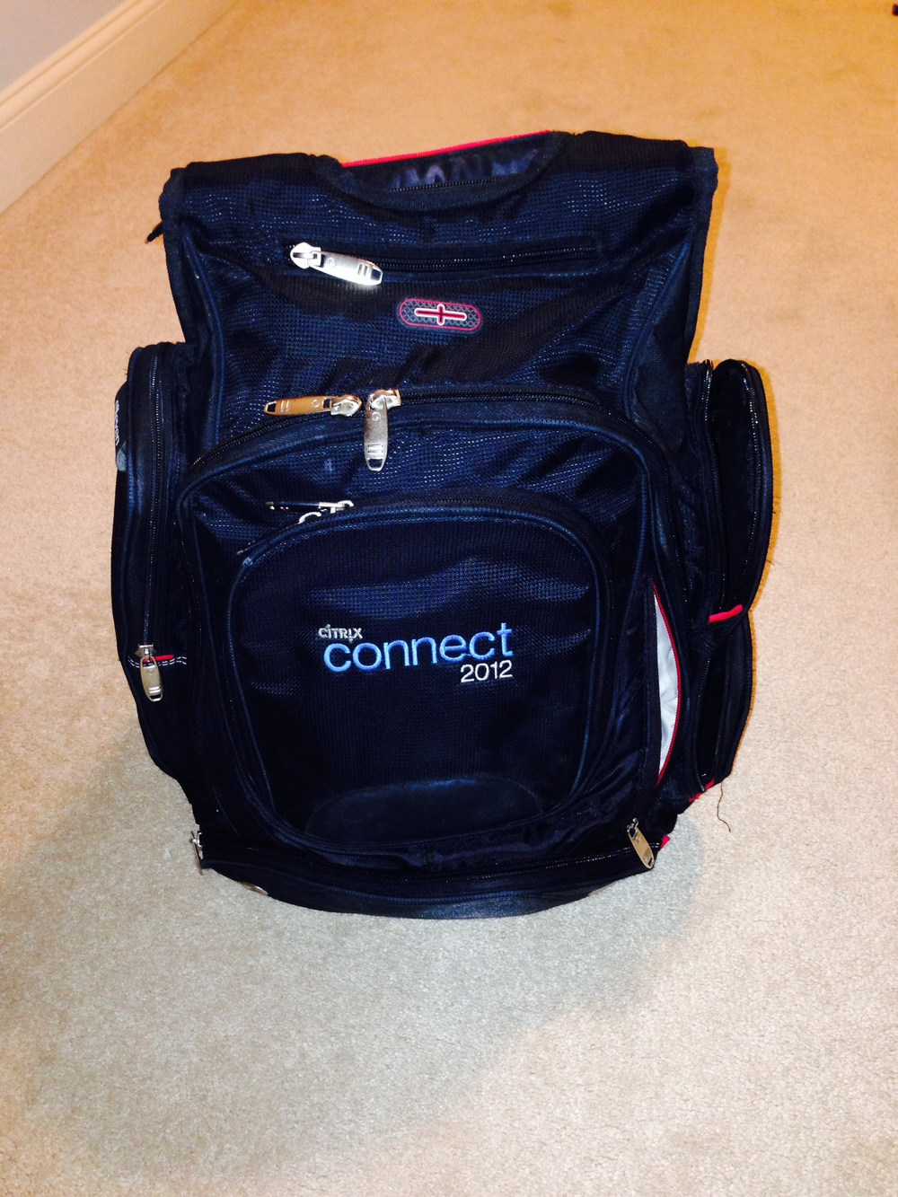 My favorite travel back pack...it was a freebie from Jeff's former employer, but its loaded with pockets!