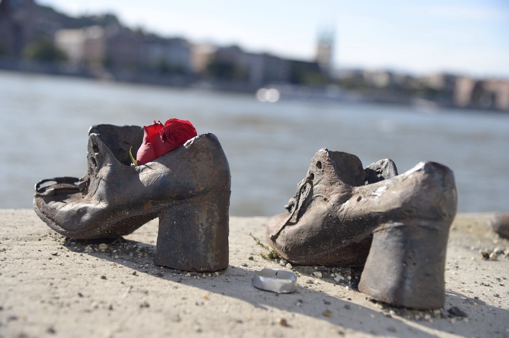 A detail of the Shoes on the Danube  Memorial on the banks of the Danube