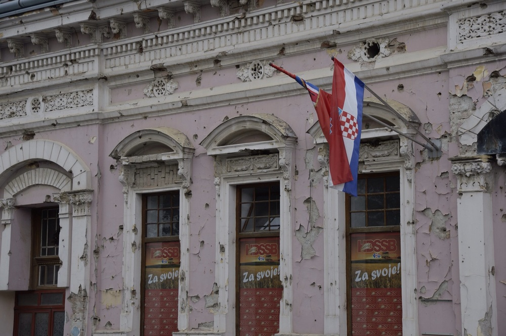 Heavy shelling is still evident on this building 25 years later in Vukovar, Croatia