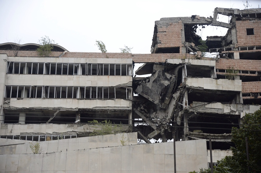 A NATO bombed building in Belgrade, Serbia.