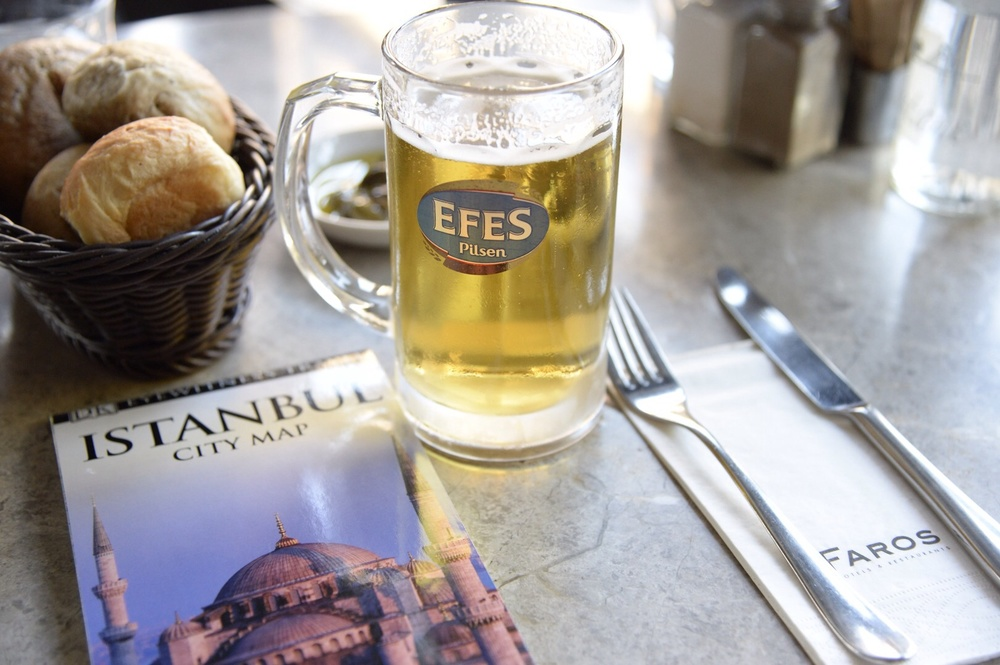 With our guide book, and a local Turkish beer, we are fortified to explore Istanbul!
