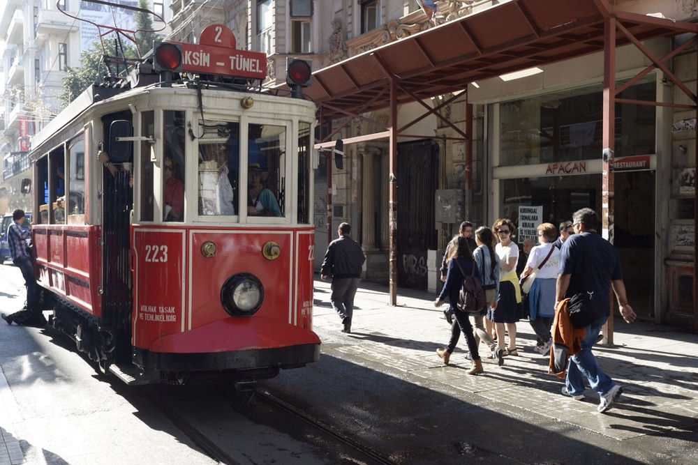 A crowded tram that runs the length of Istiklal Street