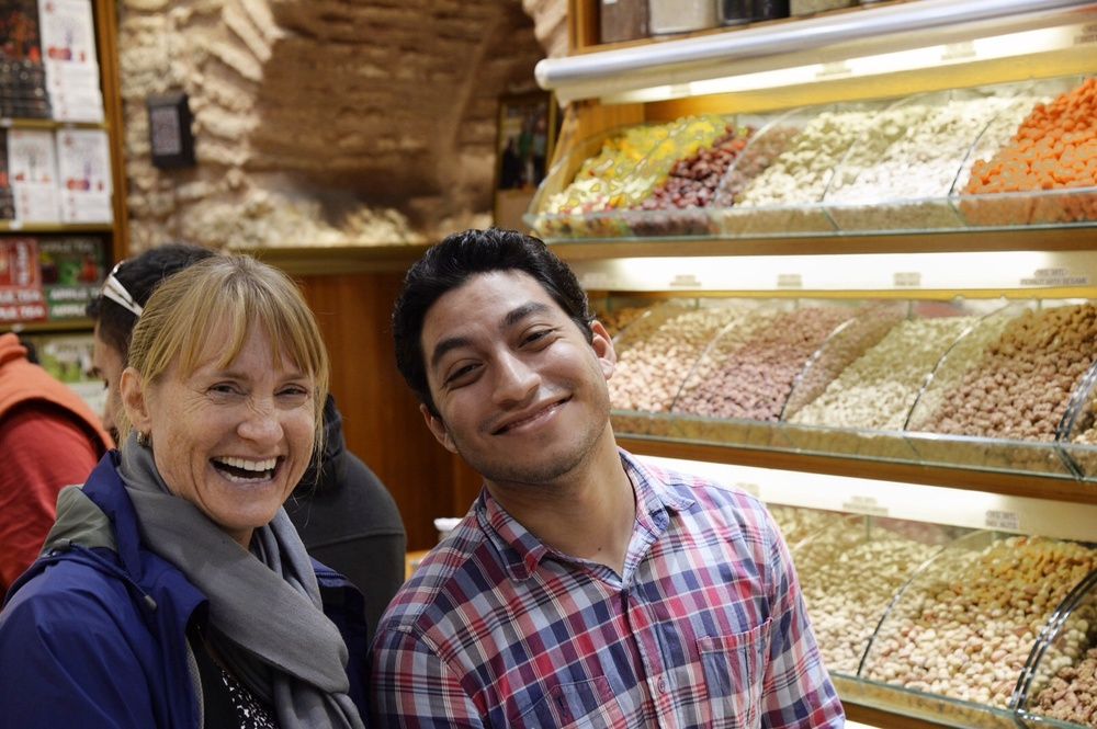 Yours truly with my spice seller, but no Turkish Delight for me!