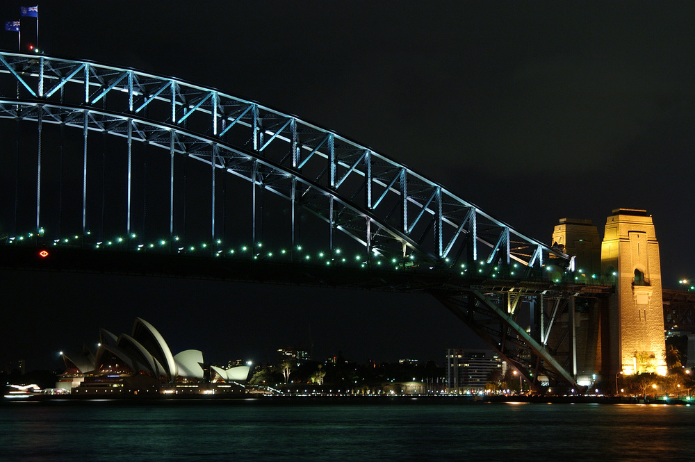 An iconic nighttime view of Sydney Harbor, Sydney Australia