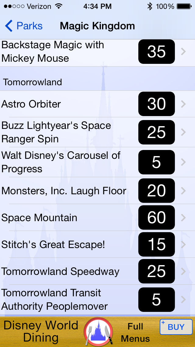 Here is an example of wait times in Tomorrowland at the Magic Kingdom on the Disney World Wait Time App