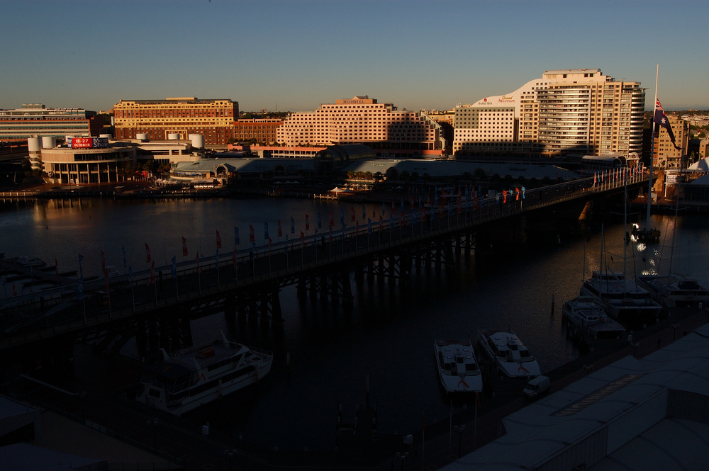 View of the Pyrmont Bridge to the Harbour Center Shops and Convention Center