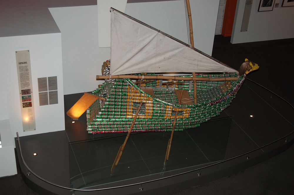 "One fascinating exhibit is a vessel made of Victoria Bitters cans, an example of boats created for an annual ""Beer Can Regatta""  held in Darwin."