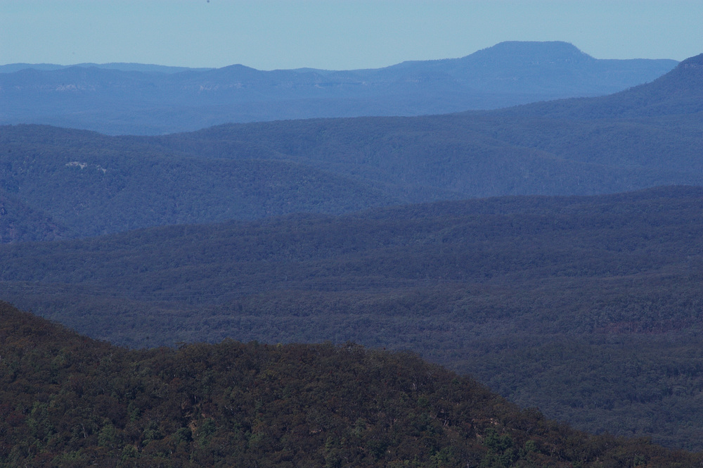 Blue Mountains- you can see the hazy eucalyptus that gives the Blue Mountains their blue color.