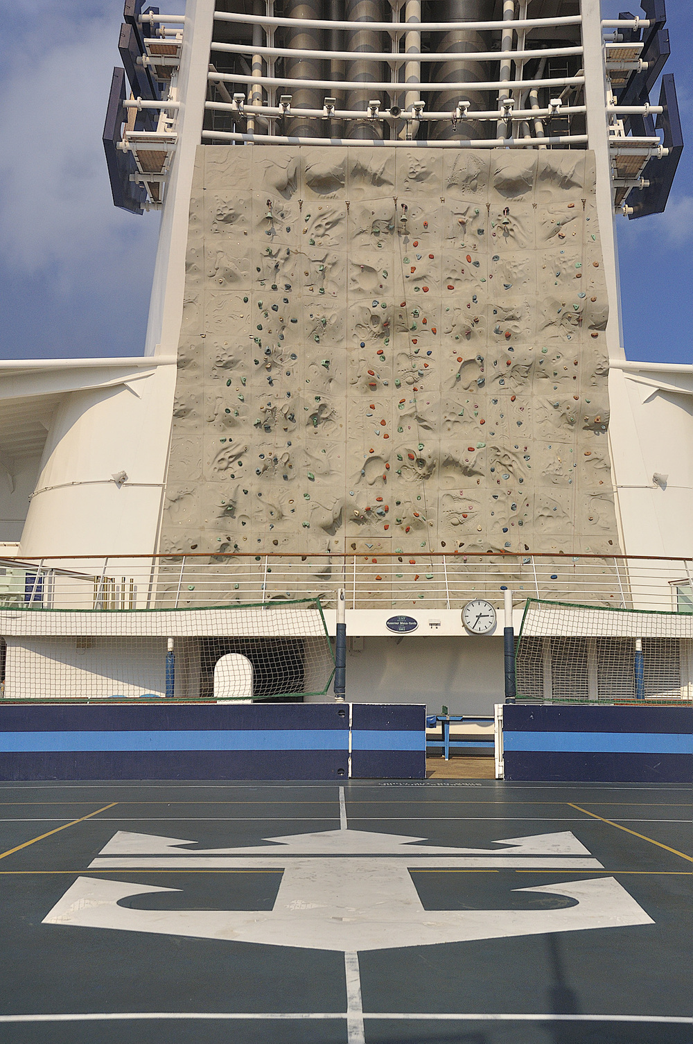 Basketball court and rock climbing wall