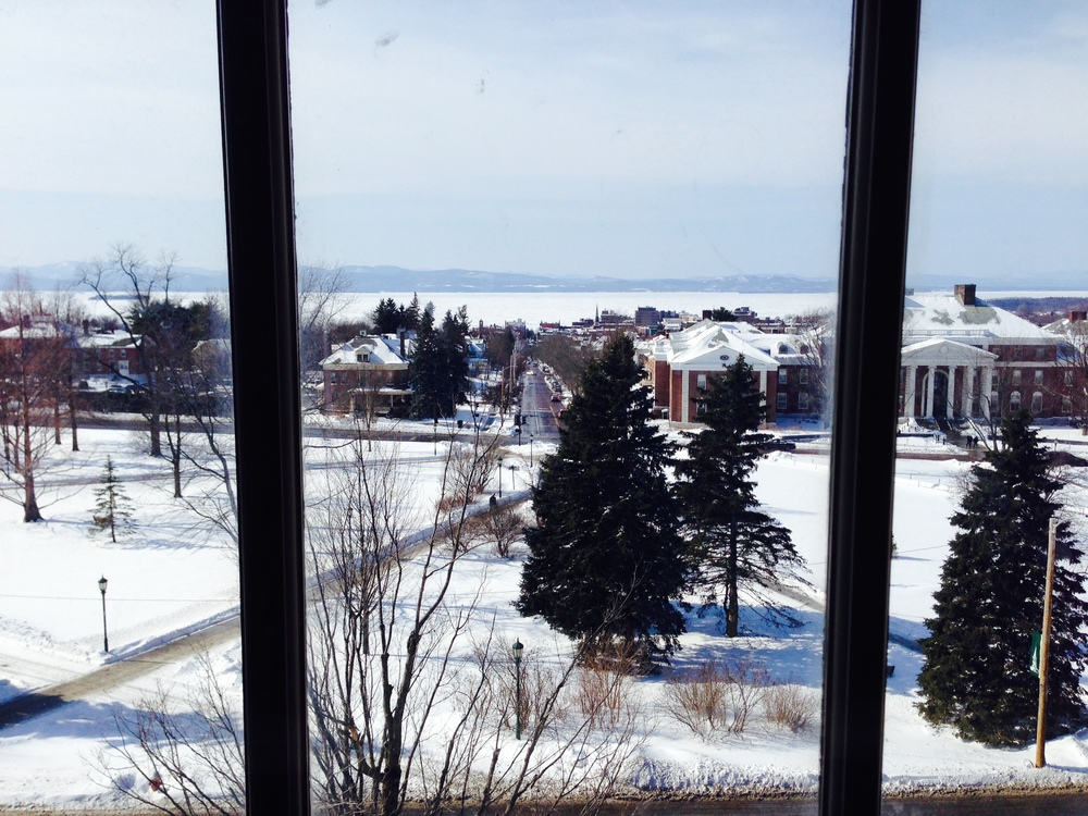 The UVM Campus sits above Lake Champlain with the city of Burlington and the mountains in the distance. This conference room is on the top floor of the building where our daughter would take most of her classes...hmm, is it any wonder they took us here on the tour?