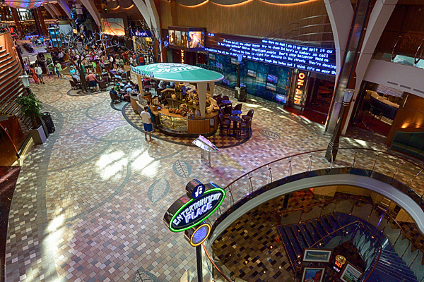 On Air Club, Starbucks kiosk and the stairs to Entertainment Place on the Royal Promenade