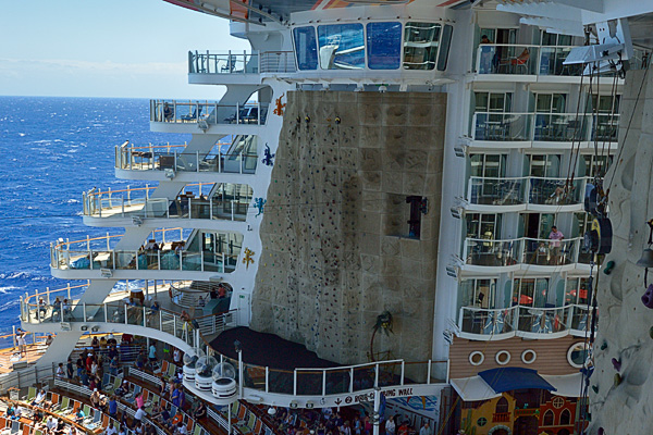 The Rock Wall, view of the Aqua Theater suites, and boardwalk balcony cabins