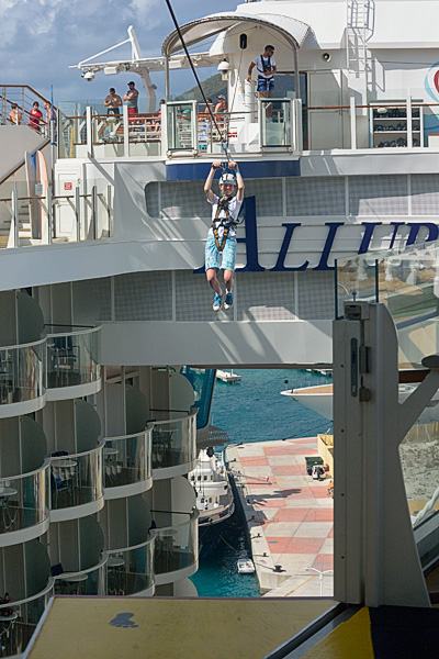 Zip lining above the Boardwalk
