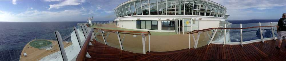 Outside of the Solarium, there is a sun deck for taking photos of the bow