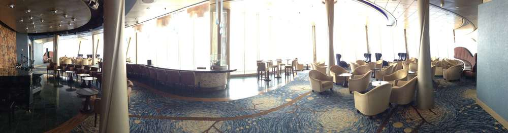 The Viking Crown Lounge by day offers incredible views over the pools, Central Park and the ocean.