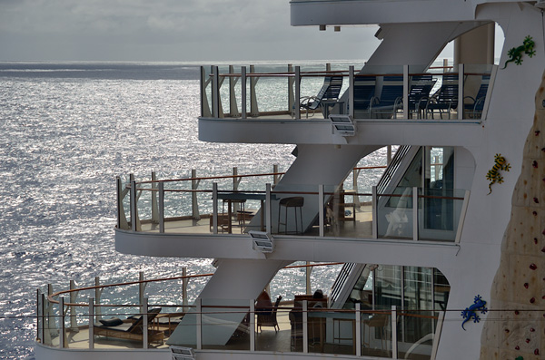 This top deck with loungers (deck 11)  was a favorite place to relax, and see shows from above the aqua theater and I usually had the whole place to myself most of the time. Being underutilized, that was one of the spaces recently turned into a luxury suite, similar to the 2 decks below it,  and is no longer open to the public.