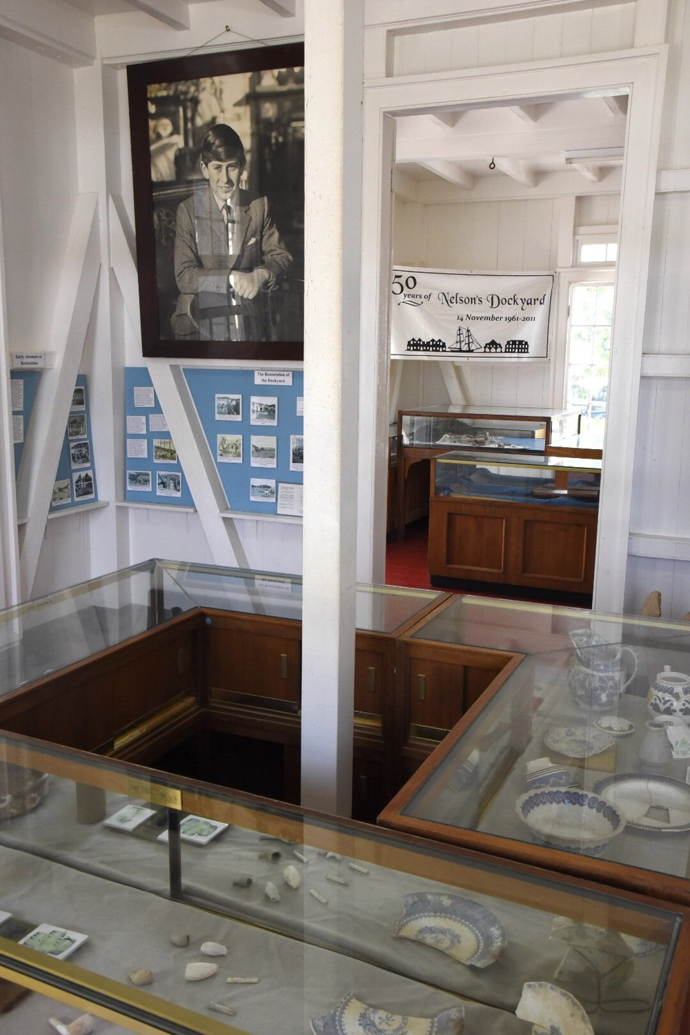 Artifacts and displays at the museum at the Nelsons Dockyard