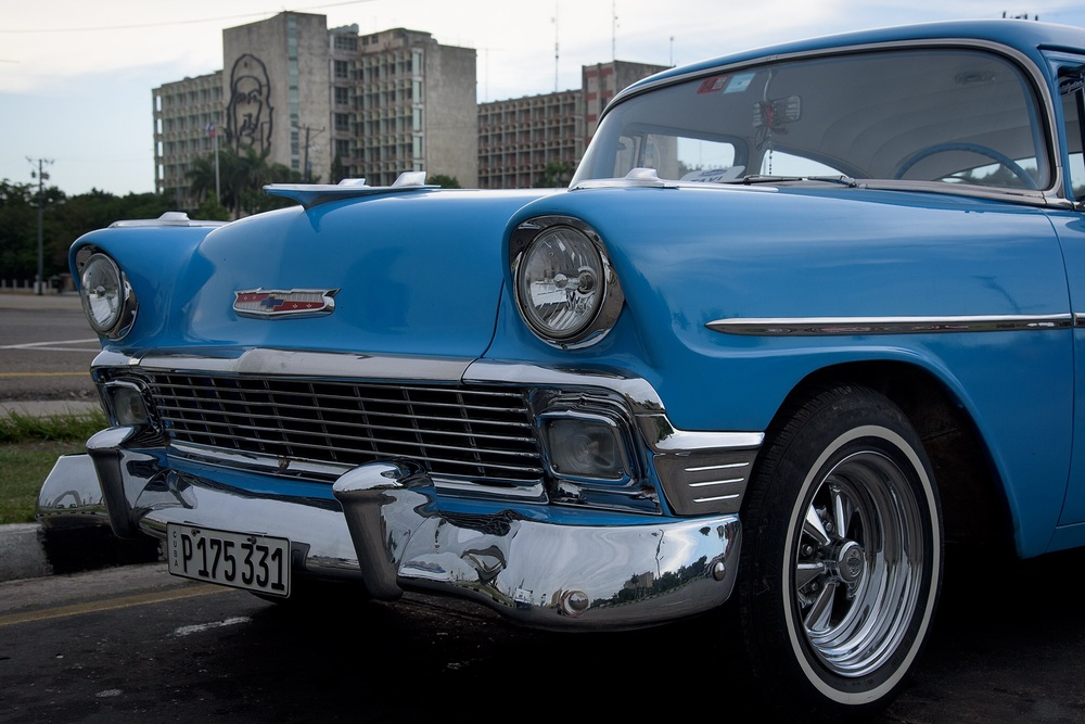 Several of us took Chevrolet taxis on a tour through Havana including the Revolutian Square. All but one or two no longer had the original engines.