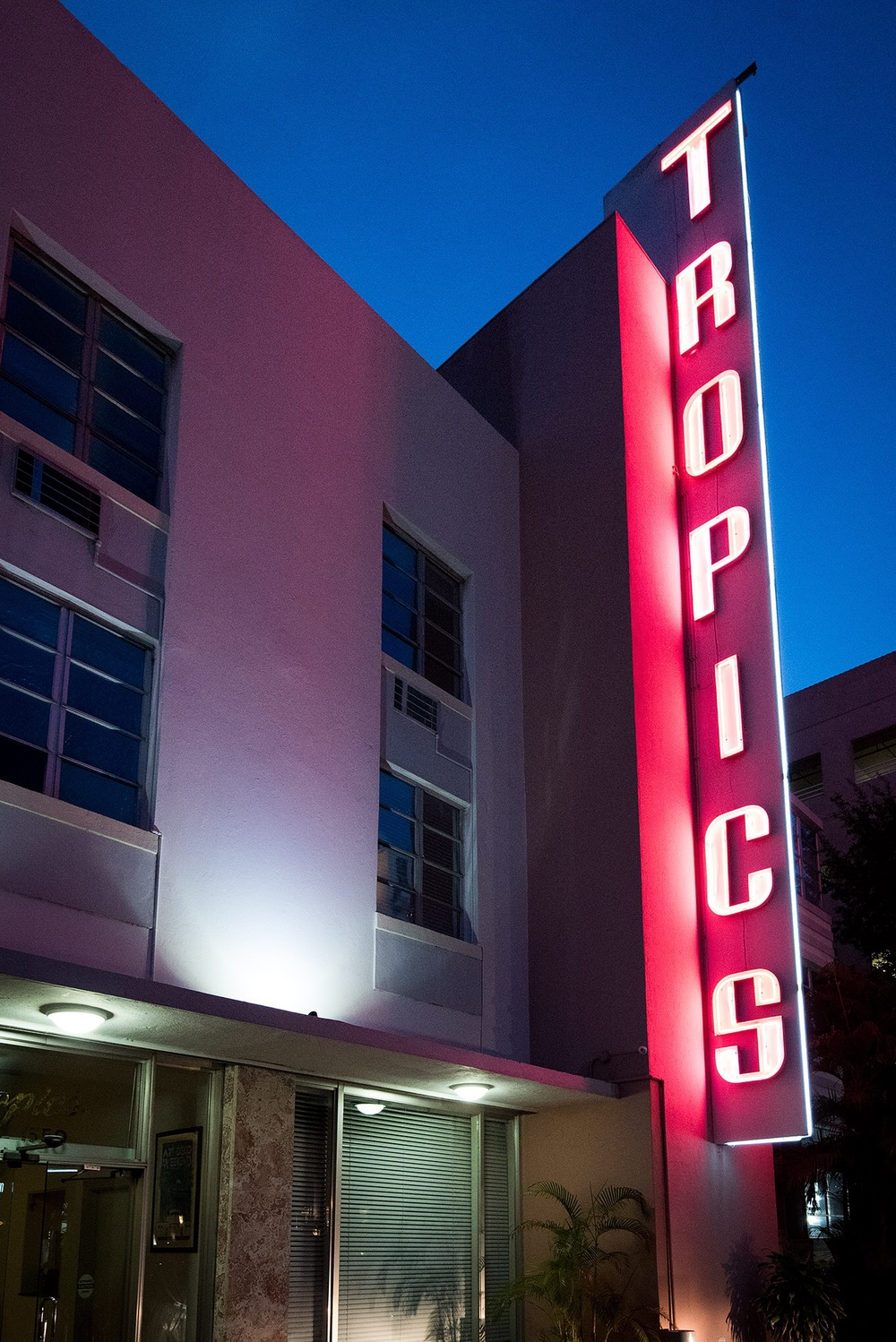 Plenty of colorful neon decorates the Art Deco buildings in South Beach.