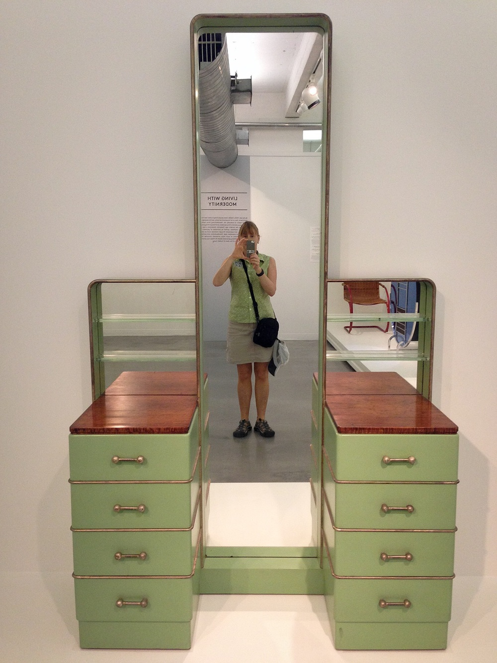 Here is an interesting and colorful metal Art Deco style vanity, which I happened to colorfully matched that day!